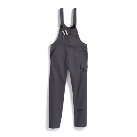 Cotte à bretelles gris 100% coton lavage 60°-BP-