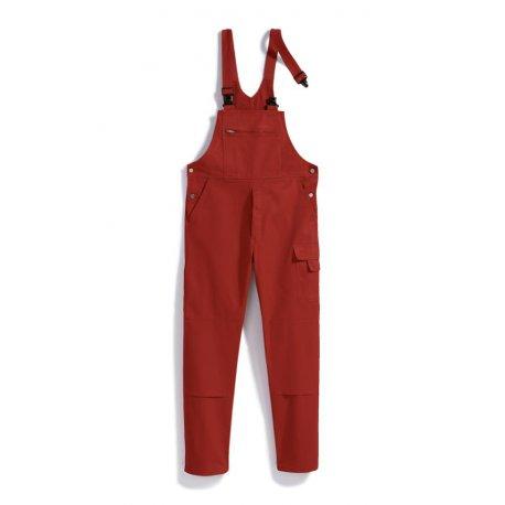 Cotte à bretelles rouge 100% coton lavage 60°-BP-