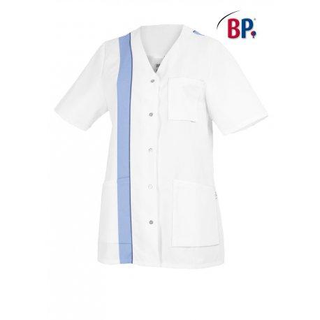 Tunique médicale pour femme blanc bande bleu polycoton-BP-