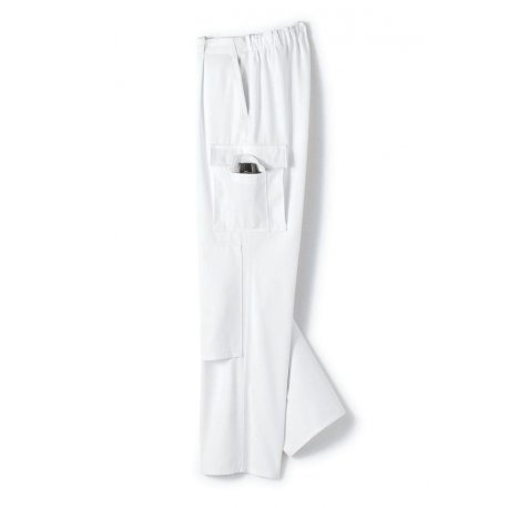 Pantalon de travail blanc avec poches 100% coton-BP-
