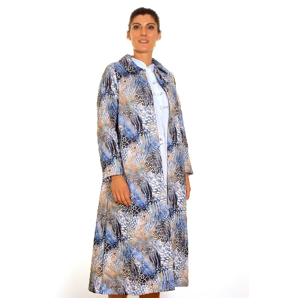 Robe De Chambre Classique Imprimé Bleu