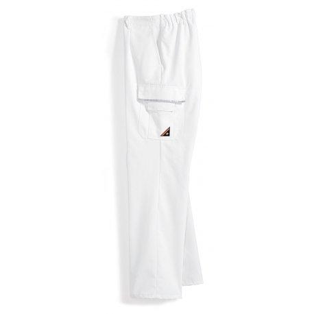 Pantalon de travail blanc polycoton poches côtés-BP-