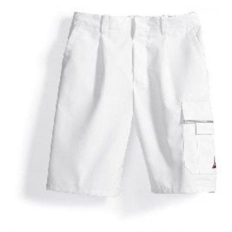 Short de travail blanc polycoton avec poches-BP-