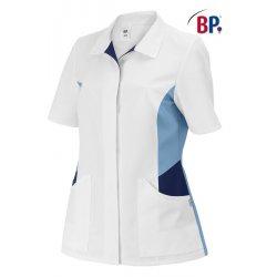 Tunique médicale femme coupe ajusté bleu et blanc-BP-