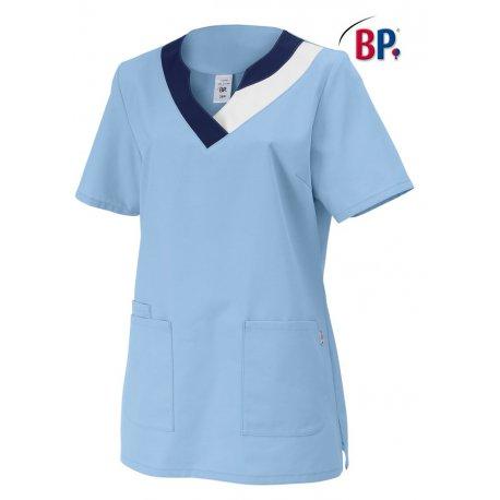 blouse médicale bleu ciel à enfiler polycoton-BP-
