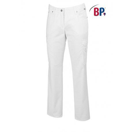 Pantalon médical blanc tissu strech-BP-