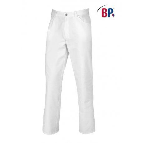 Pantalon de cuisine blanc polycoton coupe jean