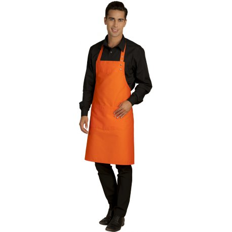 Tablier Bavette orange avec poche réglable au cou -Talbot-