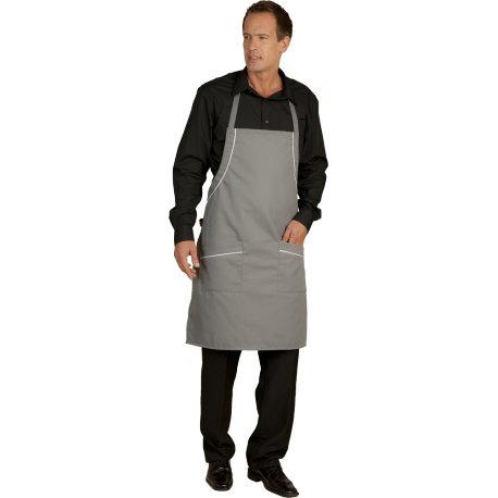 Tablier Bavette gris polycoton deux poches -TALBOT-