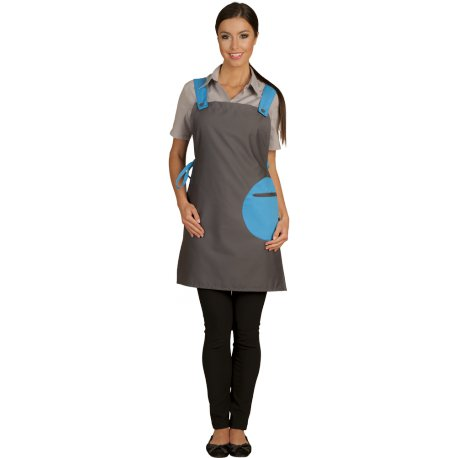 Tablier Chasuble gris poche turquoise-TALBOT-