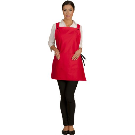 Tablier Chasuble rouge attaches liens polycoton-TALBOT-