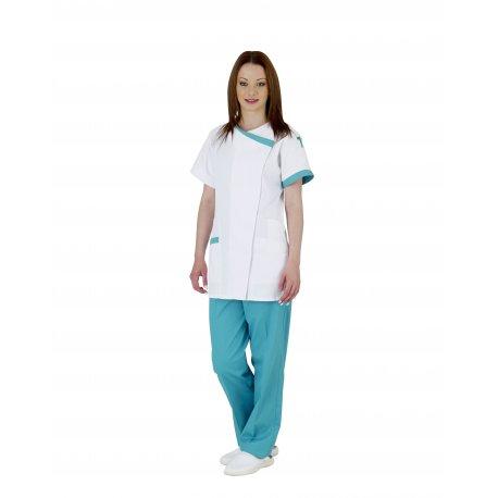 Blouse médicale femme blanche avec poche stylo-REMI-