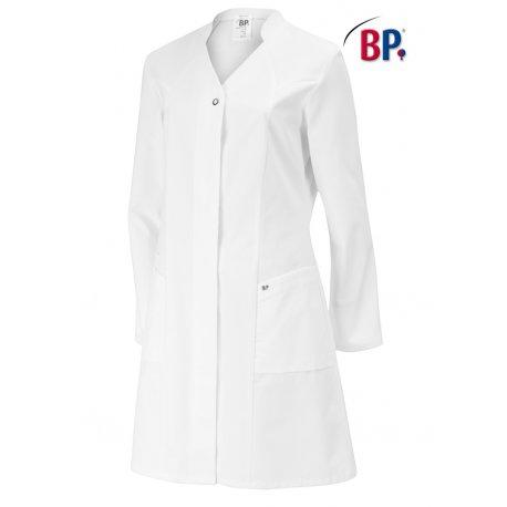 Blouse de laboratoire mi longue manches longues 100% coton blanc pour femme BP