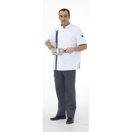 Veste de Cuisine manches courtes pour hommr avec bande grise