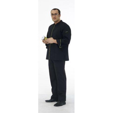 Veste de cuisine manches longues homme avec petit col