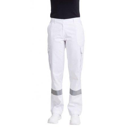 Pantalon Ambulancier blanc pour femme bande réfléchissante-REMI-