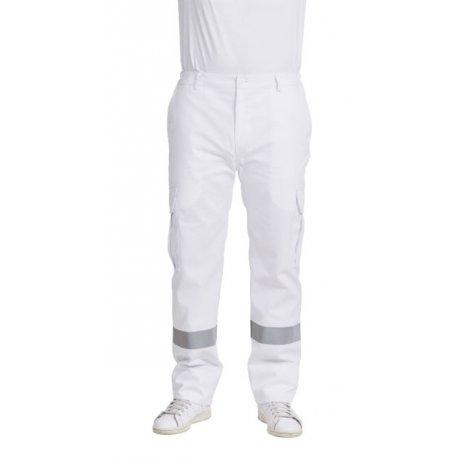 Pantalon Ambulancier blanc homme bande réfléchissante-REMI-