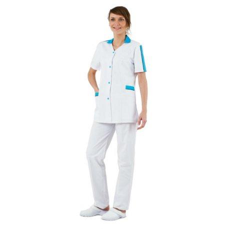 Blouse de Pharmacie blanche avec liseré bleu-REMI-
