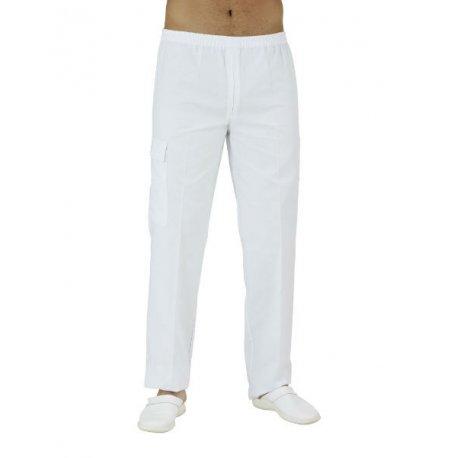 Pantalon Médical Homme blanc ceinture élastiqué-REMI-
