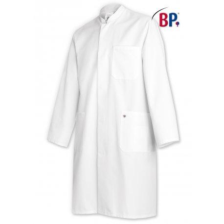 Blouse de laboratoire longue manches longues 100% coton blanc pour homme BP