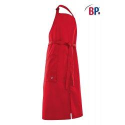 Tablier Bavette Rouge polycoton réglable au cou avec fentes