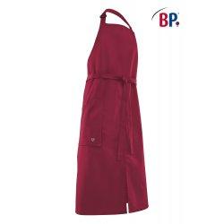 Tablier Bavette bordeaux polycoton réglable au cou avec poche -BP-