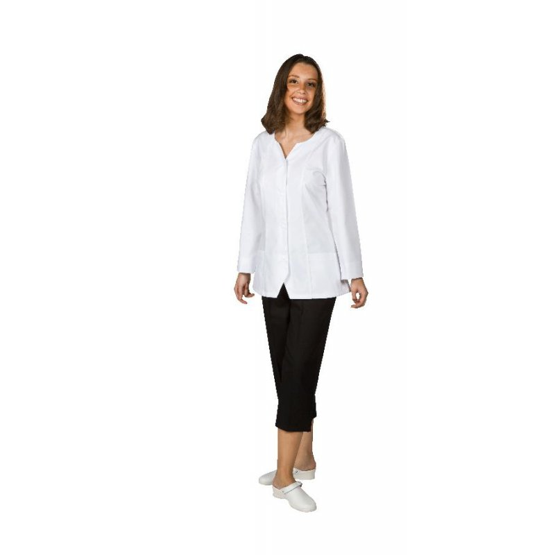 blouse courte manches longues 65 polyester 35 coton blanc pour femme bp acheter en ligne. Black Bedroom Furniture Sets. Home Design Ideas