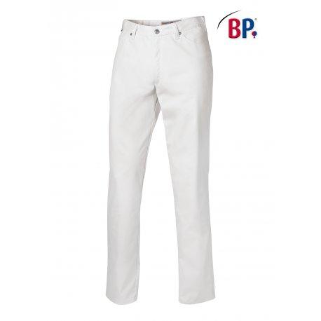 Pantalon de cuisine coupe Jean blanc homme