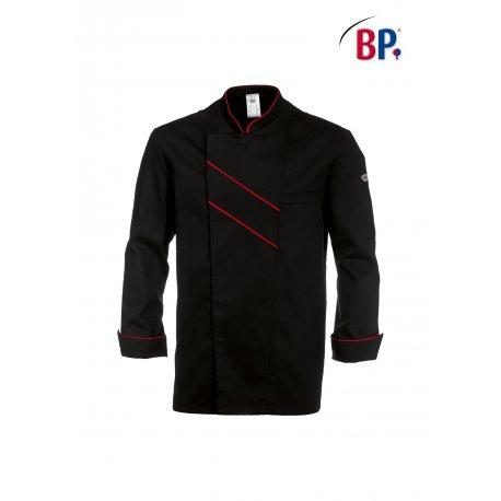 Veste de cuisine Noir Grand Chef liseré rouge-BP-