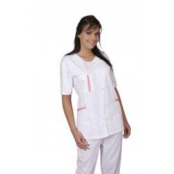 Tunique Médicale avec liseret rose longueur 75 cm-REMI-