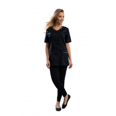 Blouse Esthéticienne noir avec poches col V-REMI-
