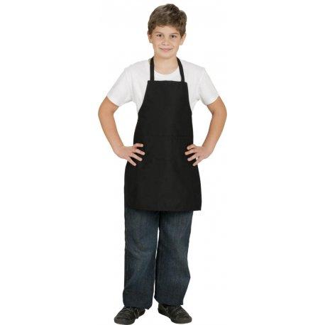 Tablier bavette de cuisine noir enfants 100% coton -Talbot-