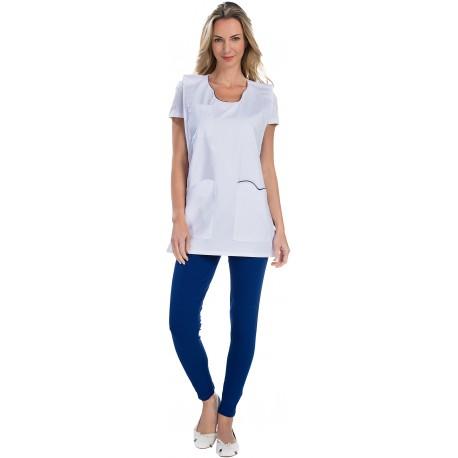Chasuble pour Femme Blanc et liseré poche poitrine -REMI-