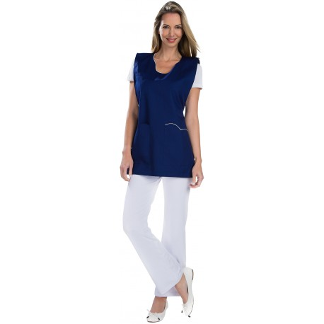 Tablier Chasuble Bleu Marine polycoton avec poches-REMI-