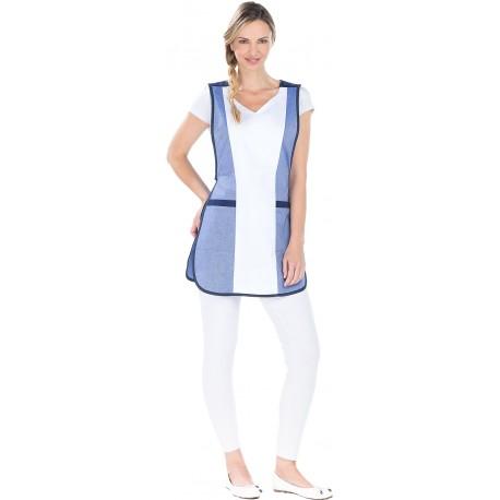 Tablier Chasuble Modèle Mirabelle Bleu et Blanc polycoton-REMI-
