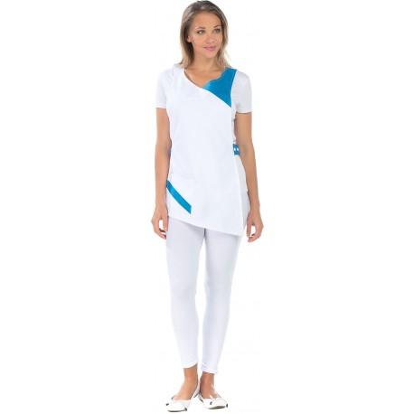 Tablier Chasuble blanc et turquoise deux poches polycoton-REMI-