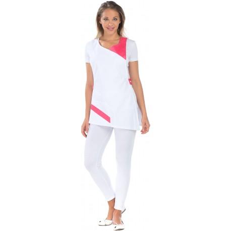 Tablier Chasuble Papaye Blanc et Rose poches polycoton-REMI-
