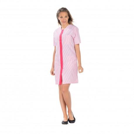 Blouse Femme rayé rose et blanc trois poches -polycoton-REMI-