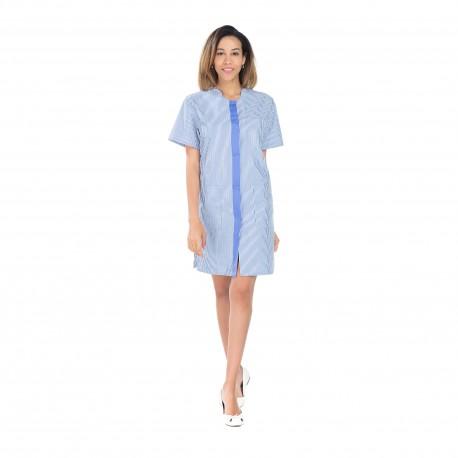 Blouse femme de ménage rayé bleu et blanc longueur 95 cm-REMI-