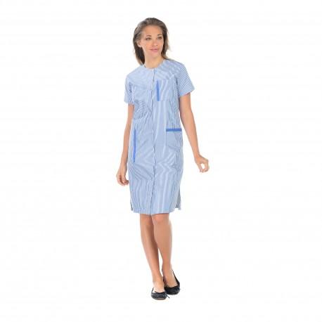 Blouse Femme de Ménage rayé bleu et blanc longueur 105 cm-REMI-