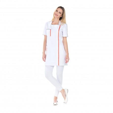 Blouse femme de Ménage blanc et hibiscus avec fentes-REMI-