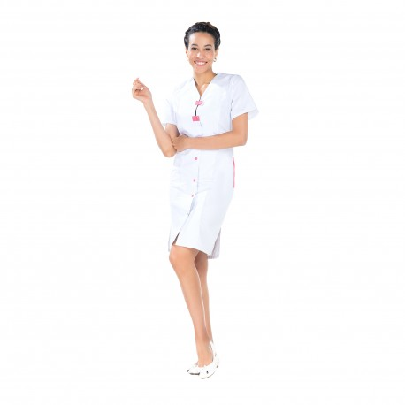 Blouse Femme D'entretien Longue avec deux poches côtés -REMI-