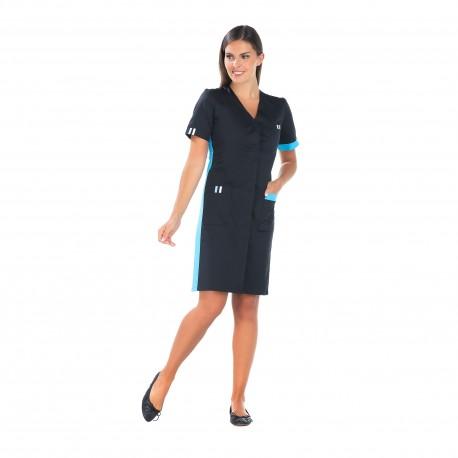 Blouse de nettoyage Noir et atoll quatre poches longueur 95 cm-REMI-