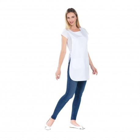 Tablier Chasuble blanc polycoton deux poches -REMI-