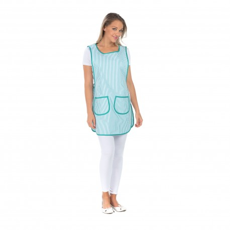 Tablier Chasuble Femme rayé vert et blanc polycoton-REMI-