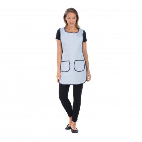 Chasuble de travail pour femme deux poches gris et blanc-REMI-