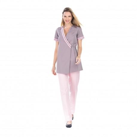 Tunique Esthéticienne couleur zinc et rose-REMI-