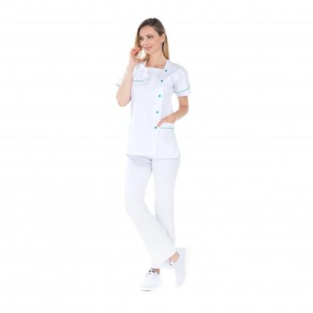 Tunique médicale blanche polycoton fermeture pressions-REMI-
