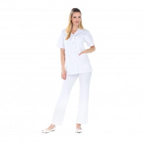 Blouse médicale blanche polycoton fentes côtés -REMI-