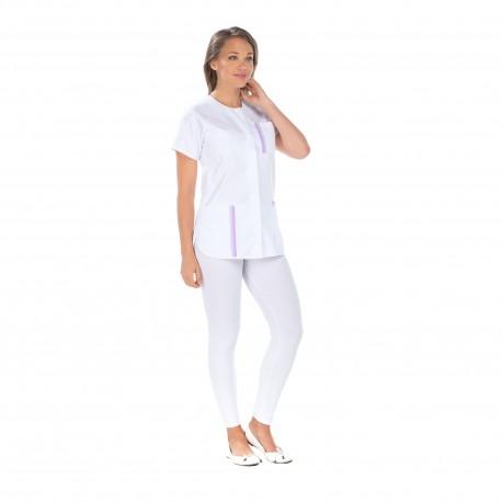 Tunique médicale femme blanche liseré parme-REMI-
